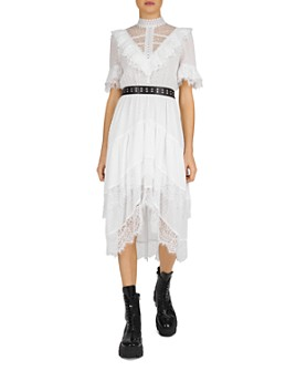 The Kooples - Belted Lace Illusion Midi Dress