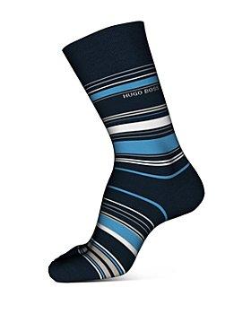 BOSS - Cotton-Blend Multi-Stripe Crew Socks