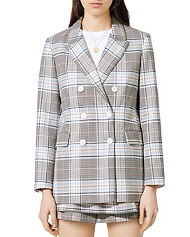 Maje - Vika Plaid Button Blazer