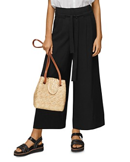 Whistles - Belted Wide-Leg Cropped Trousers