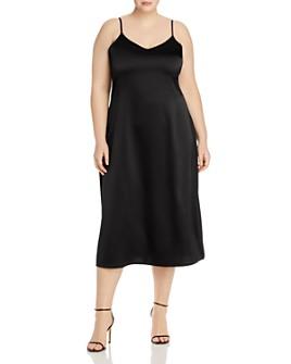 AQUA Curve - Bias Crepe Back Satin Slip Dress - 100% Exclusive