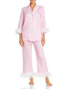 Sleeper - Feather-Trim Gingham Pajama Set - 100% Exclusive
