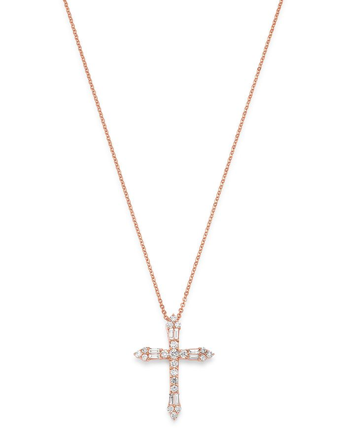"Bloomingdale's - Diamond Cross Pendant Necklace in 14K Rose Gold, 17-19"", 0.63 ct. t.w. - 100% Exclusive"