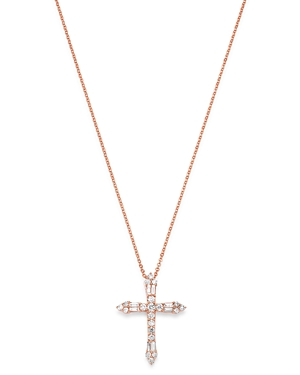 Bloomingdale's Diamond Cross Pendant Necklace in 14K Rose Gold, 17-19 - 100% Exclusive