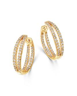 Bloomingdale's - Diamond Double Split Row Inside Out Hoop Earrings in 14K Yellow Gold - 100% Exclusive