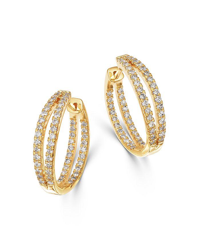 Bloomingdale's - Diamond Double Split Row Inside Out Hoop Earrings in 14K Yellow Gold, 1.00 ct. t.w. - 100% Exclusive