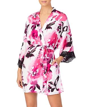 Dkny Floral Print Lace Wrap Robe