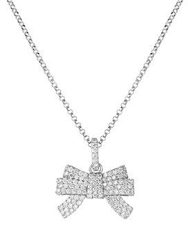 "Roberto Coin - 18K White Gold Disney Cinderella Diamond Bow Pendant Necklace, 18"""