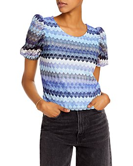 AQUA - Crochet Puff-Sleeve Top - 100% Exclusive