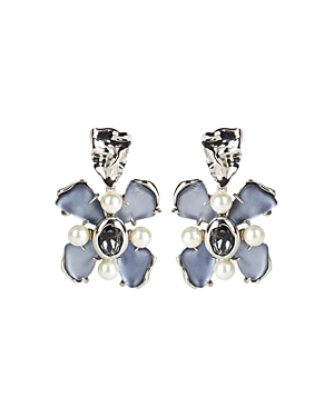 Alexis Bittar FUTURE ANTIQUITY GRAY SLATE CRYSTAL, IMITATION PEARL & LUCITE FLOWER CLIP-ON DROP EARRINGS