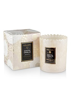 Voluspa - Santal Vanille Boxed Scalloped Edge Embossed Glass Candle