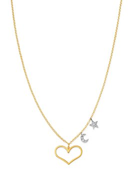 Meira T - 14K White Gold & 14K Yellow Gold Diamond Star, Moon & Heart Pendant Necklace, 16-18""