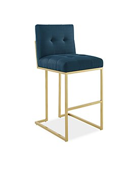 Modway - Privy Gold Stainless Steel Upholstered Fabric Bar Stool