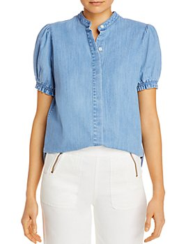 FRAME - Puff-Sleeve Chambray Blouse
