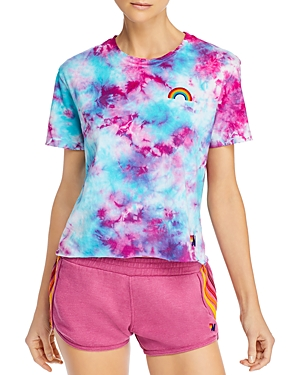 Aviator Nation Cotton Tie-Dyed Rainbow Tee