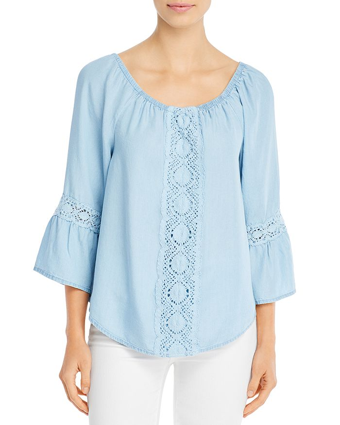 Alison Andrews Lace Trim Peasant Top In Light Chambray