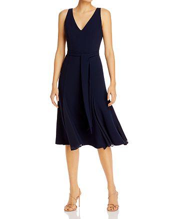 Adrianna Papell - Belted V-Neck Dress