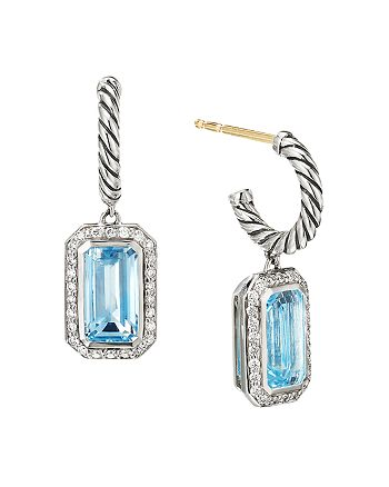 David Yurman - Sterling Silver Novella Drop Earrings with Blue Topaz and Pavé Diamonds