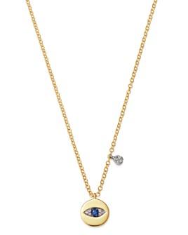 "Meira T - 14K White Gold & 14k Yellow Gold Blue Sapphire & Diamond Evil Eye Pendant Necklace, 16-18"""