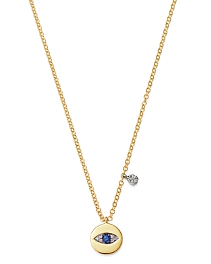 Meira T 14K White Gold & 14k Yellow Gold Blue Sapphire & Diamond Evil Eye Pendant Necklace, 16-18