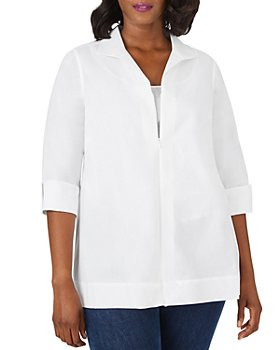 Foxcroft Plus - Lydia Wing-Collar Zip Top