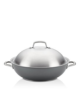 "Anolon - Accolade Hard-Anodized Precision Forge 13.5"" Wok with Lid, Moonstone"