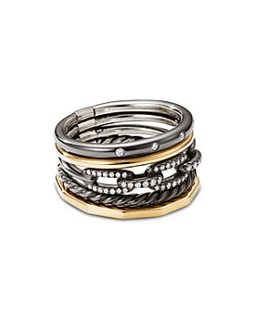 David Yurman - Stax Five-Row Ring in Blackened Silver with Diamonds