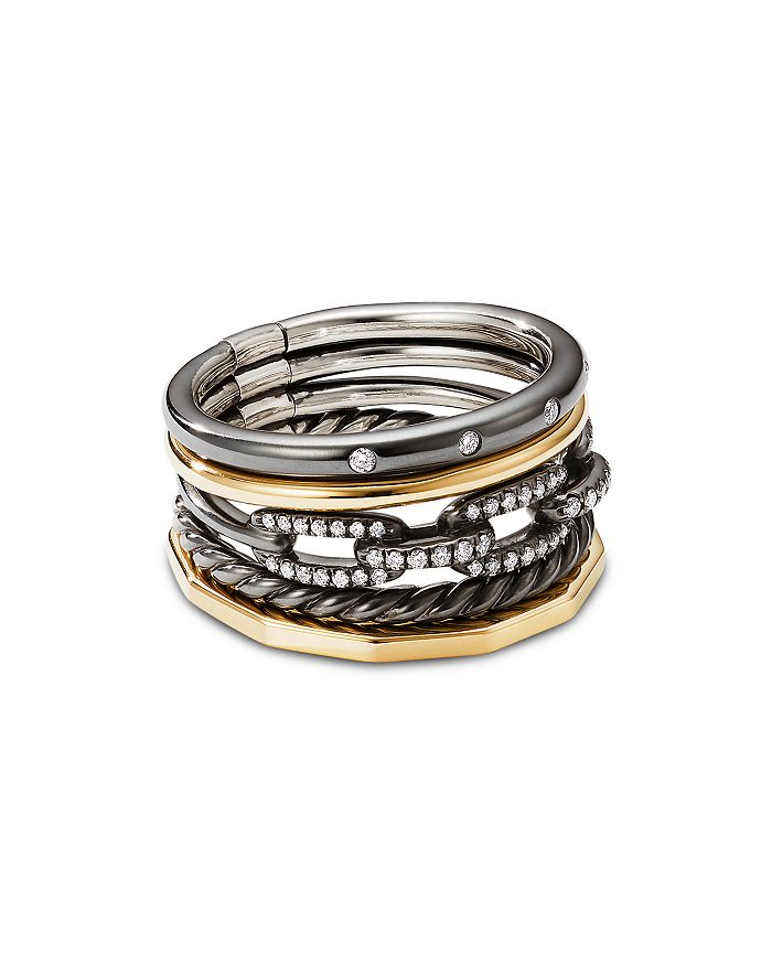 David Yurman - Stax Five-Row Ring in Blackened Silver with Diamonds