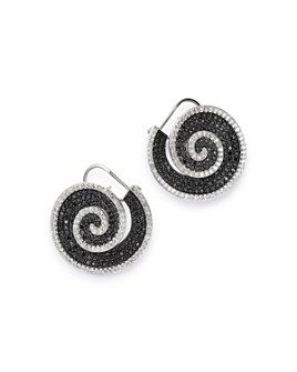 Bloomingdale's - Black & White Diamond Pinwheel Front-to-Back Earrings in 14k White Gold - 100% Exclusive