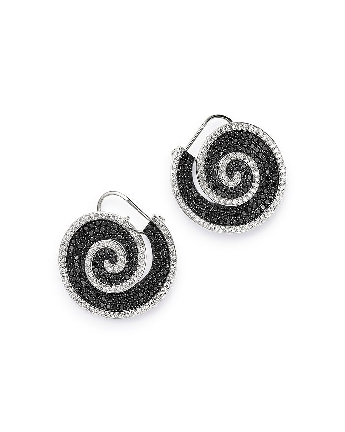 Bloomingdale's - Black & White Diamond Pinwheel Front to Back Earrings in 14k White Gold, 3.0 ct. t.w. - 100% Exclusive