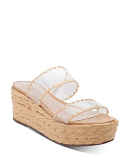 SCHUTZ - Women's Royce Raffia-Wrapped Platform Slide Sandals