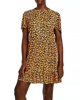 AQUA Curve - Leopard Print Ruffled Hem Dress - 100% Exclusive