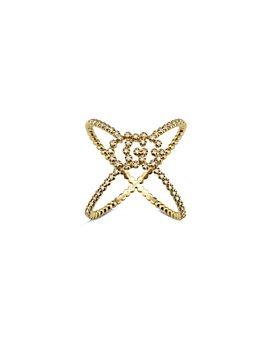 Gucci - 18K Yellow Gold Running GG Diamond Crossover Statement Ring