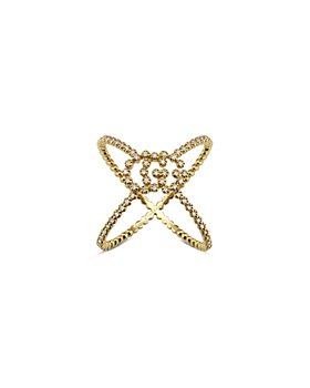 Gucci - 18K Yellow Gold Running GG Diamond Crossover Statement Ring