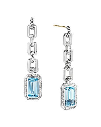 David Yurman - Novella Chain-Link Drop Earrings with Blue Topaz and Pavé Diamonds