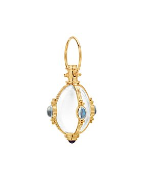 """Temple St. Clair - 18K Yellow Gold Classic Cabochon Amulet with Oval Rock Crystal, Royal Blue Moonstone and Tanzanite and 32"""" 18K Oval Chain Necklace"""