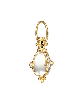 Temple St. Clair - Temple St. Clair 18K Classic Amulet Pendant with Oval Rock Crystal and Diamond