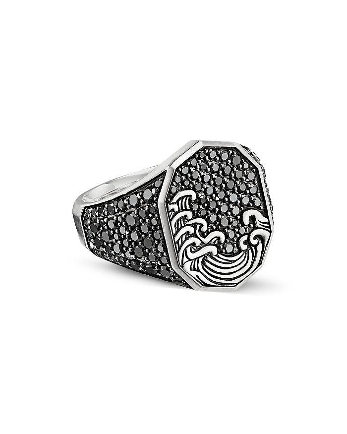 David Yurman - Waves Signet Ring with Pavé Black Diamonds