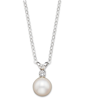 Cultured Freshwater Pearl and Diamond Pendant Necklace in 14K White Gold, 16