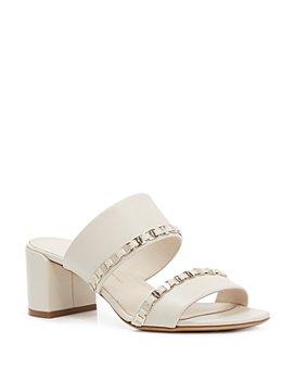 Salvatore Ferragamo - Women's Logo Embellished Mid Heel Sandals