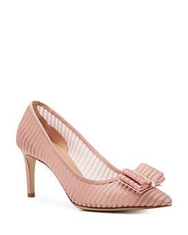 Salvatore Ferragamo - Women's Pointed Toe Lace Embroidery Mid Heel Pumps
