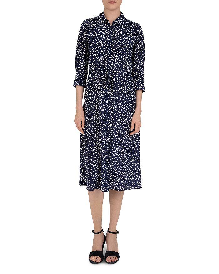 Gerard Darel Sander Abstract Print Silk Dress In Blue