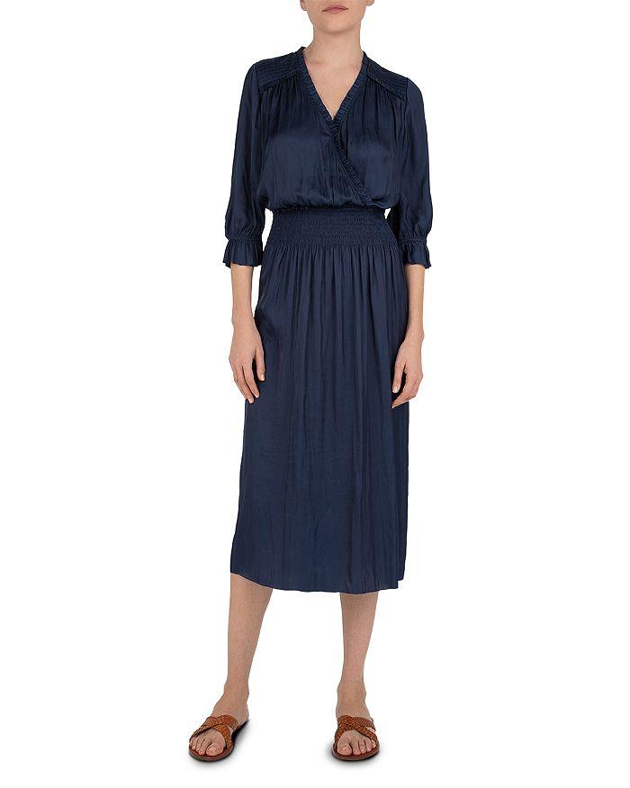 Gerard Darel Swann Smocked Midi Dress In Blue