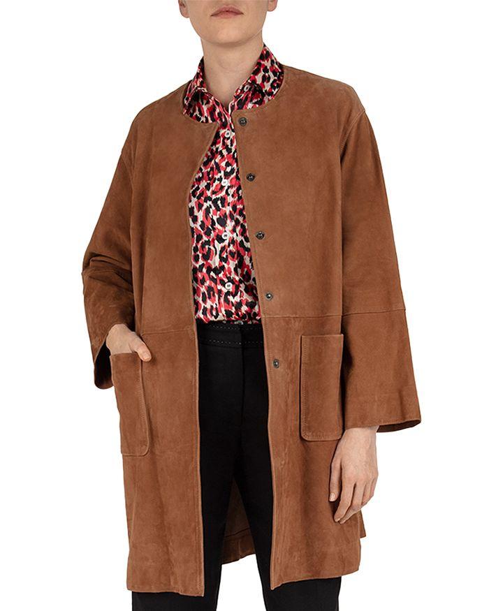 Gerard Darel Gianna Suede Coat In Brown