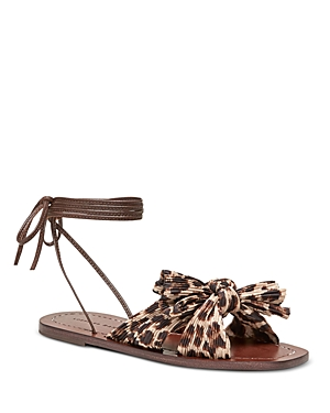 Loeffler Randall WOMEN'S PEONY PLEATED KNOTTED WRAP SANDALS