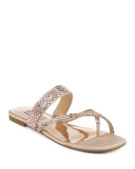 Badgley Mischka - Women's Zelah Crystal Embellished Flat Sandals