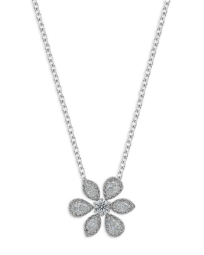 Bloomingdale's - Diamond Fancy Cut Flower Pendant Necklace in 14K White Gold, 0.50 ct. t.w.