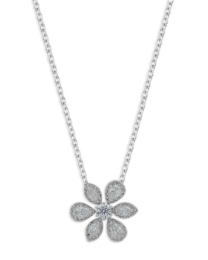 "Bloomingdale's Fancy Cut Diamond Flower Pendant Necklace in 14K White Gold, 18"" - 100% Exclusive    Bloomingdale's"
