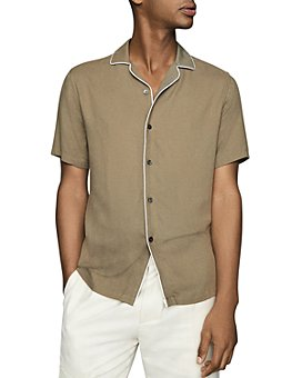 REISS - Ferdinando Tipped Cuban Collar Slim Fit Shirt
