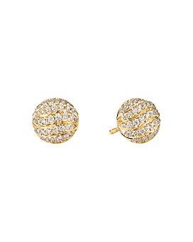 David Yurman - Mini Cable Stud Earrings in 18K Yellow Gold with Diamonds